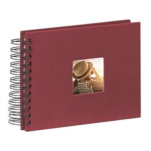 Hama Fine Art - Álbum de fotos, 50 páginas negras (25 hojas), álbum con espiral, 24 x 17 cm, con compartimento para insertar foto, borgoña