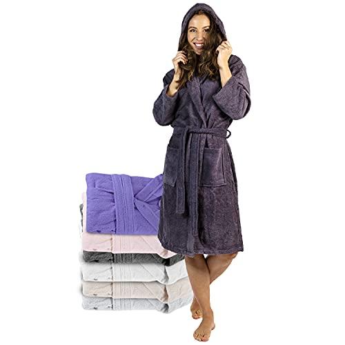 Twinzen Bademantel Damen - XL - DarkGrau - 100% Baumwolle (350g/m²) OEKO-TEX® Zertifiziert - Bademantel mit Kapuze, 2 Taschen, Gürtel