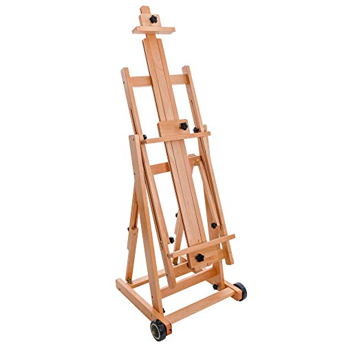"""U.S. Art Supply Master Multi-Function Studio Artist Wooden Floor Easel - Large Adjustable H-Frame, Tilts Flat, Mast Adjusts to 97"""" High - Sturdy Beechwood Painting Canvas Holder Stand with Wheels"""