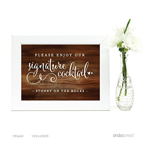 Andaz Press Wedding Framed Party Signs, Rustic Wood Print, 5x7-inch, Please Enjoy This Favor With Our Gratitude, 1-Pack, Includes Frame