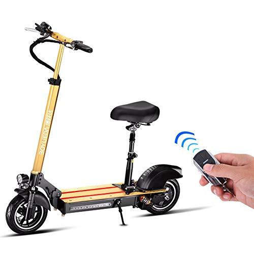 JJGS Electric Scooter - Faltbarer E-Scooter mit Straßenzulassung, max Geschwindigkeit 35km/h, max Belastung 150kg, Elektroroller Faltbar Aluminium E-Scooter Yellow-36V/8.8AH