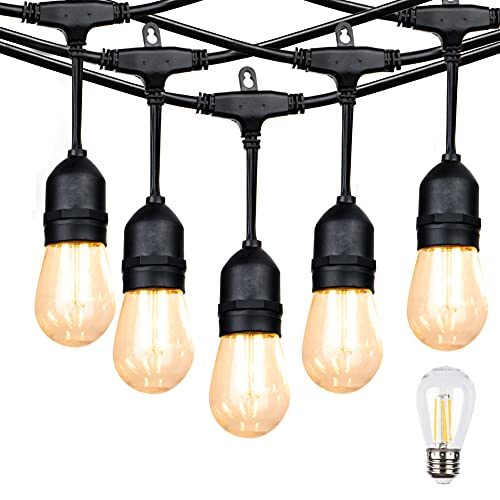 Outdoor Linkable 48ft led Heavy-Duty String Light with 15+1(Spare) 2W Energy-Saving PC Shatterproof...