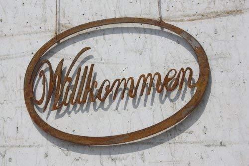 Rouillé Willkommen Déco Panneau à Suspendre