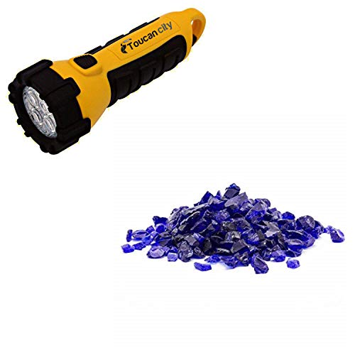 Toucan City LED Flashlight and Margo Garden Products 1/2 in. 25 lb. Medium Cobalt Blue Landscape Fire Glass DFG25-L013M