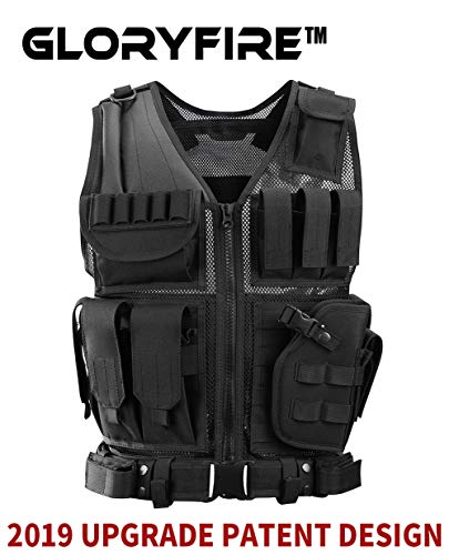 GLORYFIRE Tactical Vest Modular Assault Vest Law Enforcement Vest Adjustable Lightweight Breathable Combat Training Vest