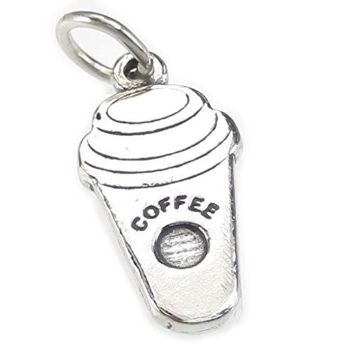 Kaffee Tasse 2D Sterling Silber Charm 925X 1Kaffee Getränke Charms cf5822