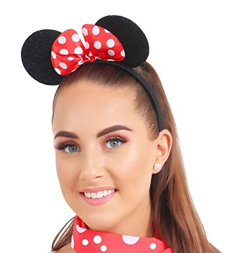 FashioN HuB - Cerchietto da donna con orecchie di topo e fiocco rosso, taglia unica