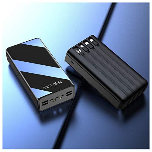 Power Bank 50000 Mah, Cargador Portátil De 7 Salidas, Batería Externa De Alta Capacidad con Micro Y USB-C Y Relámpago Y USB De 4 Entradas, con Pantalla LED Y Linterna,Negro