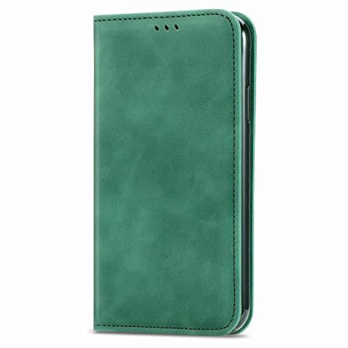 Unichthy Schutzhülle für Samsung Galaxy M31 / F41 / M21s, stoßfest, PU-Leder, Magnetverschluss, mit Standfunktion, Kartenhalter, Grün