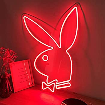 Ideal Custom Shop Playboy Bunny Neon Signs for Bedroom Kid Room Décor,Acrylic Wall Hanging Home Decoration Novelty LED Neon Sign Red  Size   19.5x13.5in 50x35  cm