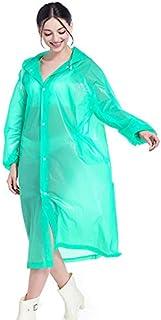TT WARE Fashion Raincoat Adult Hiking Outdoors Fishing Raincoat EVA Plastic Environmental Protection Poncho Rain Coat-Green