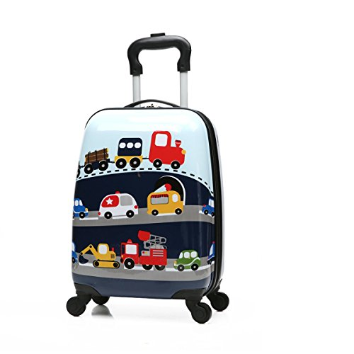 Winsday 18' Kids Carry On Luggage Upright Hard Side Hard Shell Suitcase Travel Trolley Luggages ABS for School Girls Boys Teens (Car Pattern)