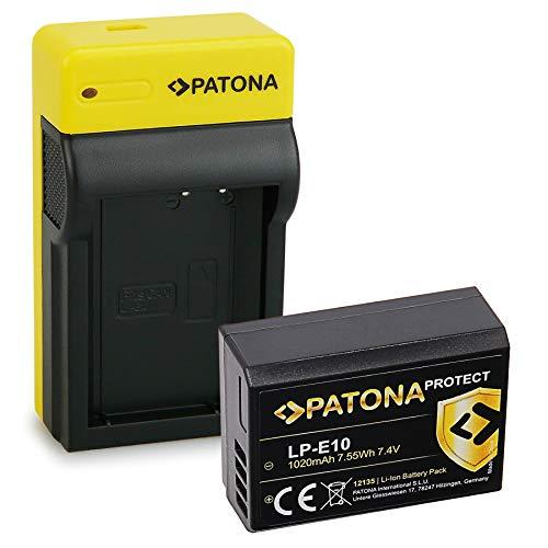 PATONA Estrecho Cargador con Protect Bateria LP-E10, NTC, Carcasa V1 Compatible con Canon EOS 1100D 4000D Rebel T5 T6