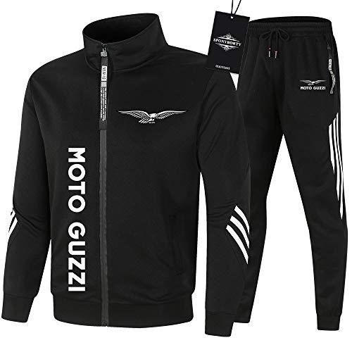 SPONYBORTY Herren Trainingsanzug Einstellen Joggen Passen Moto-GuZzi Kapuzenpulli Zip Jacke + Hose Kapuzenpullover Basketball Kleider Kinder/Schwarz/XL