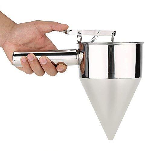 Broco Masa Gofres, embudo para hornear Dispensador de masa para panqueques de gofres Embudo para hornear de acero inoxidable Postres para pastel Herramientas de cocina con rejilla
