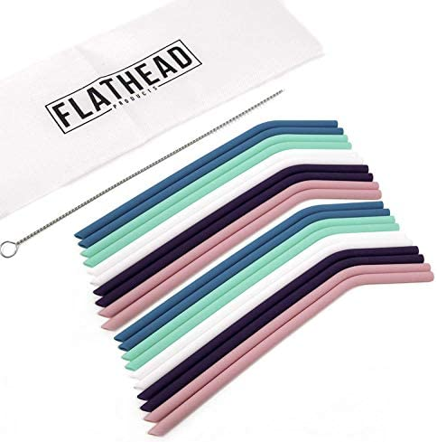 Flathead Bent Reusable Silicone Drinking Straws w/Cleaning Brush - Extra long for 30oz and 20oz tumblers and BPA Free (Set of 10)