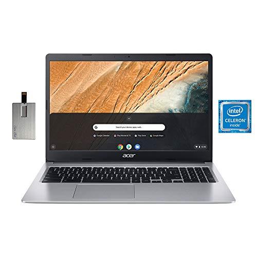 "2021 Acer Chromebook 315 15.6"" HD Display Laptop Computer, Intel Dual-core Celeron N4000, 4GB RAM, 32GB eMMC, HD Webcam, Intel UHD Graphics 600, Protective Sleeve, Chrome OS, Grey, 32GB USB Card"