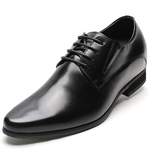 CHAMARIPA Men's Oxford Height Increasing Elevator Shoes Tuxedo Dress Shoes Genuine Leather 3.15'' Taller H62D11K011D Black