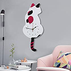Ukey Wall Clock Creative DIY Cat Acrylic Wall Clock with Swing Tail Pendulum for Living Room Bedroom Kitchen Home Décor - Battery Not Included (42CM x 18CM) White