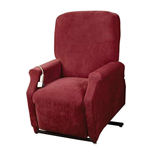 SureFit Home Décor Pique Cushion Large Size Lift Recliner Chair Cover, Stretch Form Fit, Polyester Spandex, Machine Washable, Garnet Color