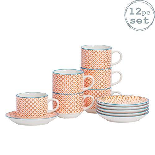 Nicola Spring Ensemble de Tasses empilables et soucoupes pour Le thé et Le café en Porcelaine à Motifs - Rondes - Motifs Oranges/Bleus - Pack de 6