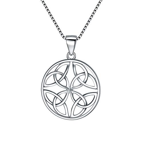 FANZE Celtic Knot Necklace 925 Sterling Silver Good Luck Circle Round Pendant Necklace Gift for Women