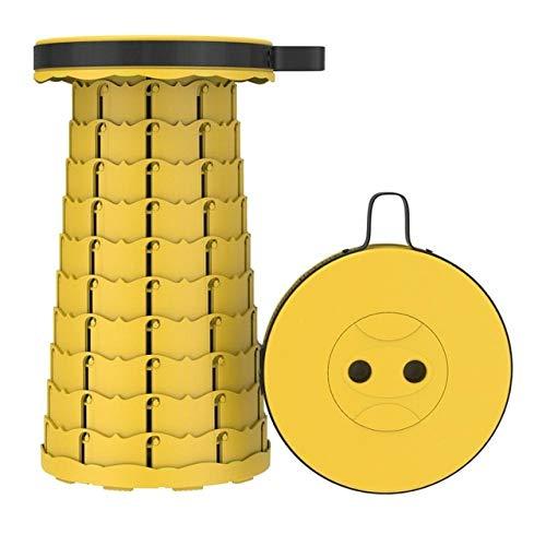 Taburete retráctil Plegable Chiar Taburete portátil para Exteriores Silla Plegable Taburete de Camping PrácticoTaburete de plástico Plegable paraPesca- Amarillo