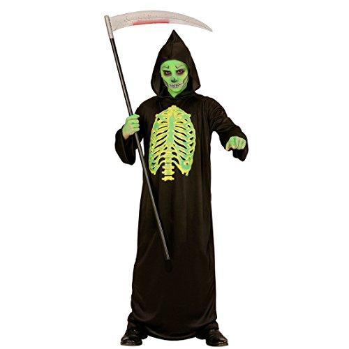 Amakando Horror Kostüm - 140, 8 - 10 Jahre - Leuchtendes Skelett Outfit Kinder Verkleidung Gerippe Grim Reaper Toxic Gruselkostüm Tod Halloween Kinderkostüm Sensenmann