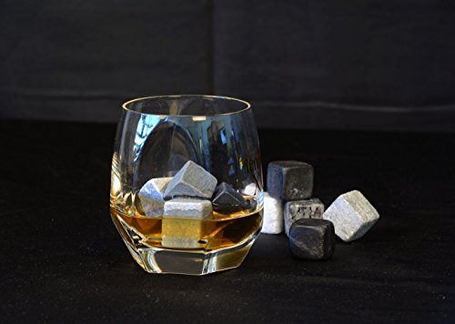 Vina Whiskey Wein Chiller Steine Set, 9Premium Chillen Ice Rocks für Bier Bourbon etc. Chill jedes Getränk ohne ES ZU verwässern, mit einem schwarz Tasche für & #-; one size for most hellgrau - 7