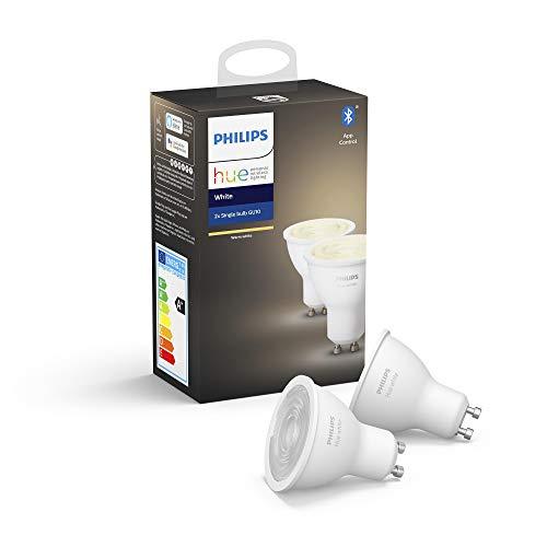 Philips Hue Ampoules LED Connectées White GU10 Compatible Bluetooth, Fonctionne avec Alexa Pack de 2