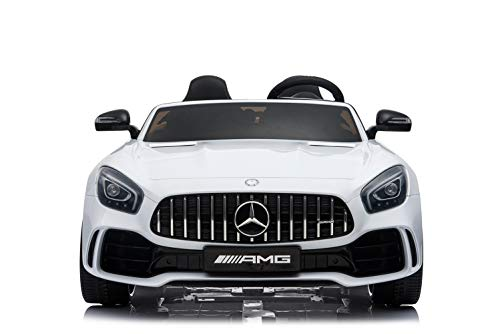 Kinderfahrzeug - Elektro Auto 'Mercedes GT R Doppelsitzer' - lizenziert - 12V10AH, 2 Motoren- 2,4Ghz Fernsteuerung, MP3, Ledersitz+EVA-Weiss