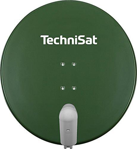 TechniSat Satman 850 PLUS Satellitenschüssel (85 cm Sat Anlage mit Masthalterung und Universal V/H Single-LNB (1 Teilnehmer) grün