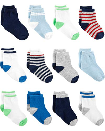 Simple Joys by Carter's Baby Jungen Socken 12er Pack ,Blue/White/Grey ,0-3 Months