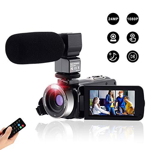Videocamera Digitale Full Hd Fotocamera Compatta 1080P 24M,Fambrow Macchina Fotografica Zoom Digitale16X Visione Notturna IR Webcam Camcorder con Telecomando e Microfono Touchscreen da 3.0'
