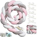 Myllna Tour De Lit Tresse OEKO TEX ® - Douce Tour de lit bebe 2M avec 5 Cordon d'attache idéal pour la Sécurité de votre Bébé - Collection Rosa