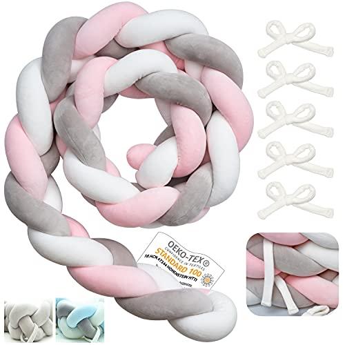 Myllna Bettschlange Geflochten OEKO TEX Standard 100 ® – Weiche 2M Bettumrandung Babybett mit Bindeband ideal für die Sicherheit Ihres Babys - Rosa Kollektion