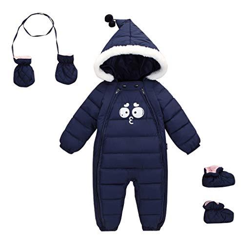 Baby sneeuwpak met handschoenen voetjes pasgeborenen winter overalls speelpak met capuchon outfits 0-18 maanden 6-12 Maanden marineblauw 2