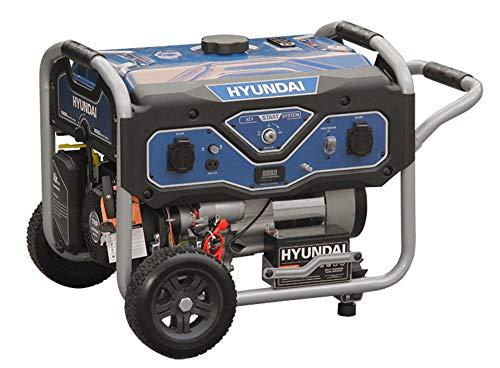 HYUNDAI Benzin Generator BG55052, Stromerzeuger mit 7PS Motor und 3.0kW max. Leistung, Handstart und E-Start, Notstromaggregat für Baustellen mit 2 x 230V Anschlüssen, Stromgenerator, Stromaggregat