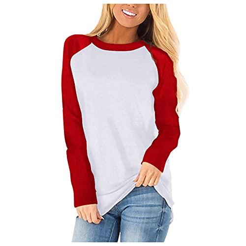 Lalaluka Sudadera de manga larga para mujer, cuello redondo, bloque de color, suelto, camiseta de manga larga con capucha, rojo, M
