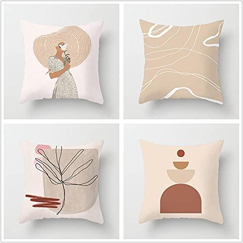 Super Suave Funda de Almohada, Mujer Morena 4 Pack Algodón Lino Throw Pillow Case Fundas de Cojines para Cojín Hogar Decorativa Almohada para Sofá Coche Cama Sillas 60x60cm(24x24in)