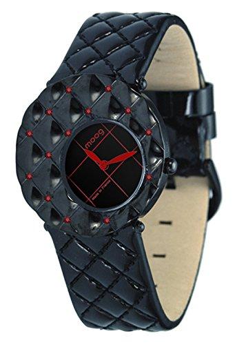 Moog Paris Fascination Reloj para Mujer con Esfera Negra, Correa Negra de Piel Genuina y Cristales Swarovski - M45412-006
