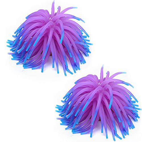 Rocita Kunst-Wasserpflanze für Aquarien, Typ: Seeanemone, Dekoration, Violett, 2 Stück