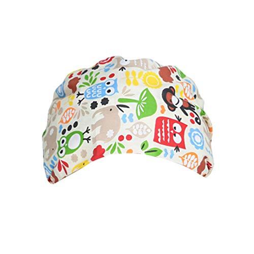 TENDYCOCO 1 Unid Algodón Mono Búho Correa Impresa Sombrero de Trabajo Quirófano Gorro Médico Gorro de Enfermera Sombrero para Médico Y Enfermera