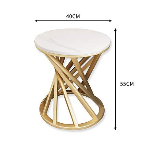YWXCJ Tables Basses Table Basse Nordique Moderne en marbre avec canapé d'angle côté Armoire côté Balcon en Fer forgé Petite Table Basse (Couleur : Blanc, Taille : 40x55cm)