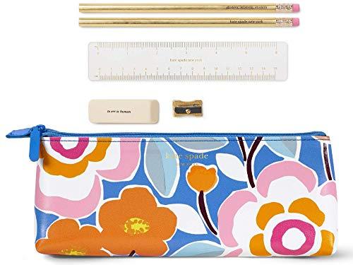 Kate Spade New York Pencil Case Including 2 Pencils, Sharpener, Eraser, and Ruler School Supplies, Pop Floral