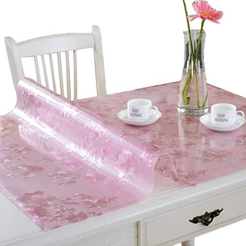 Mantel de plástico mate, PVC doméstico 1.5mm MAPATECOVER A prueba de agua Resistente al aire resistente a la resistencia a la resistencia a los rasguños de fácil acc Pink (cm)-80 * 130