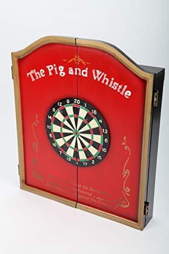 point Home - Armadietto per freccette The Pig and Whistle, con bersaglio e mobiletto stile retrò, 70 cm