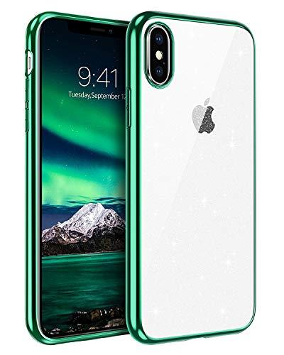 BENTOBEN iPhone XS Hülle Handyhülle Glitzer, iPhone XS Case Slim Glitzer Anti Gelb Silikon Bumper Cover Ultra dünn Hülle für iPhone X/iPhone XS 5.8 Zoll Bling Transparent Grün