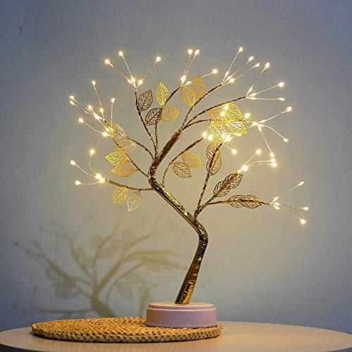COLAXI Spirit Tree ,Fairy Spirit Tabletop Artificial Bonsai Tree Light Lamp for Bedroom Living Room Home Desktop Christmas Party Indoor Decoration Lights(Leaf)