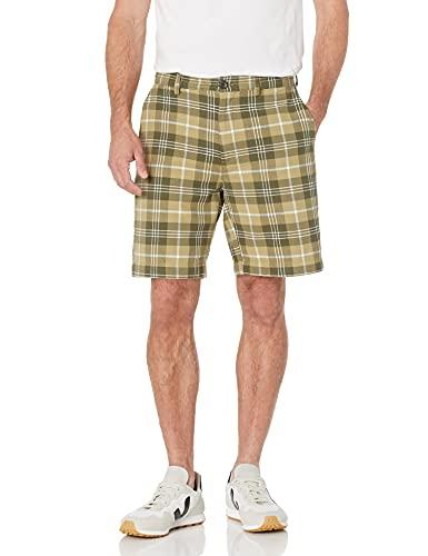 Amazon Essentials Men's Classic-Fit 9' Short, Olive Plaid, 33